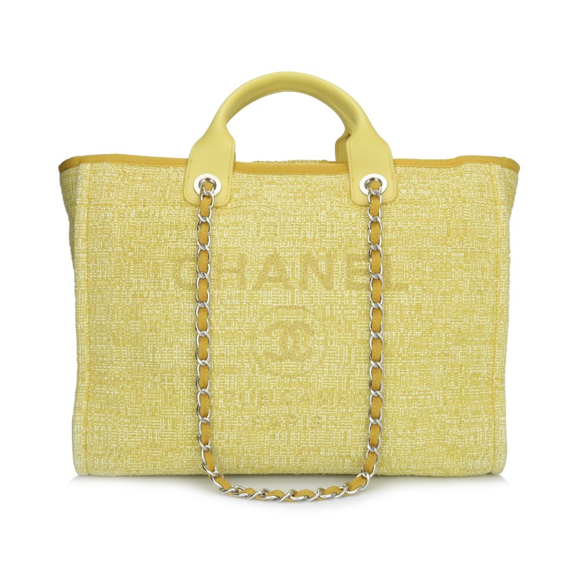 28e1f9f27689 Chanel Large Yellow Canvas Deauville Tote | HEWI London