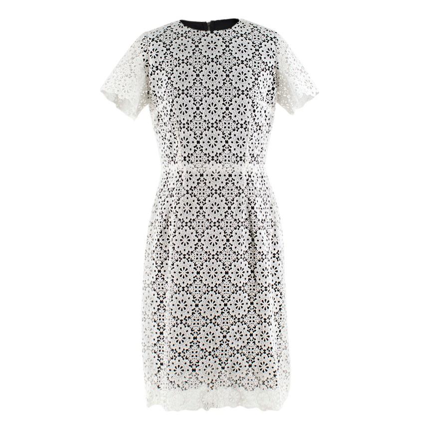 Dolce & Gabbana Black & White Lace Overlay Dress