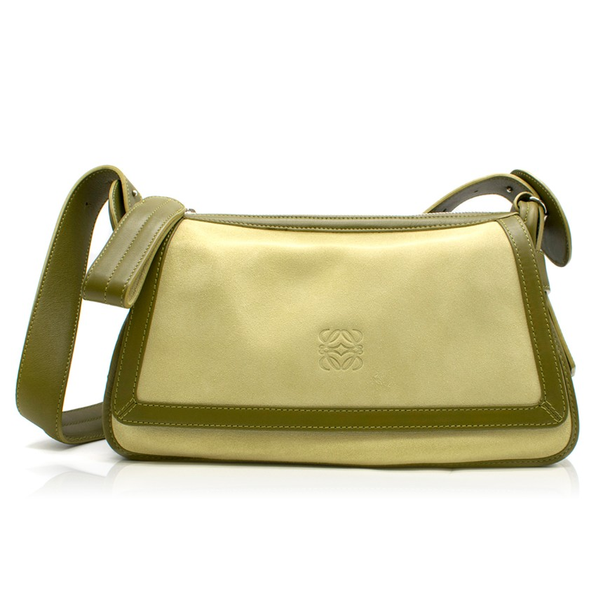 Loewe Green Suede and Leather Shoulder Bag