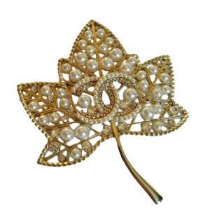 Chanel Gold Tone Crystal Pearl Embellished Leaf Brooch
