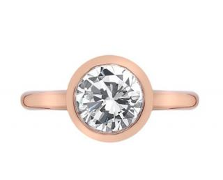 Emozioni Rose Gold Plated Solitaire Ring