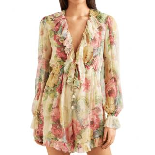 Zimmermann Melody Floral-Print Silk-Georgette Playsuit