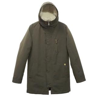 The Kooples Mens Brown Quilted Hooded Parka Jacket Coat