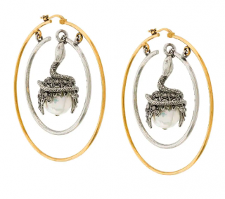Alexander McQueen pearl-drop hoop earrings