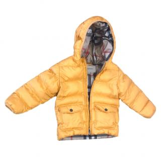 Burberry Unisex Children's Yellow Quilted Coat