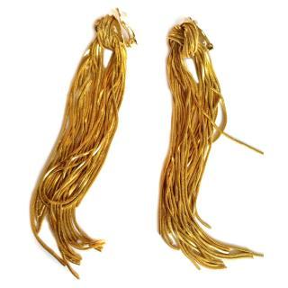 Celine Gold-Tone Tassel Clip-On Earrings