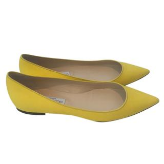 Jimmy Choo Alina yellow canvas flat pumps