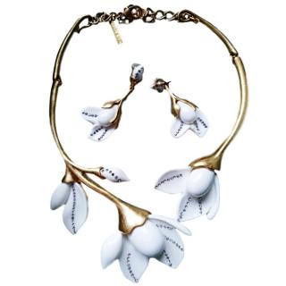 Oscar De La Renta Tulip Necklace & Earring Set