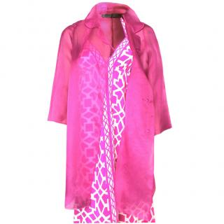 Ermanno Scervino pink silk-organza coat