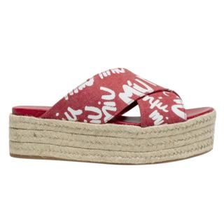 Miu Miu Logo-Print Denim Wedge Sandals