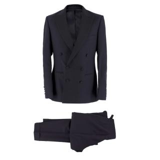 A.Sauvage Deep-Navy Blue Wool Two Piece Suit