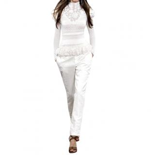 Ralph Lauren Collection runway tapered white linen trousers