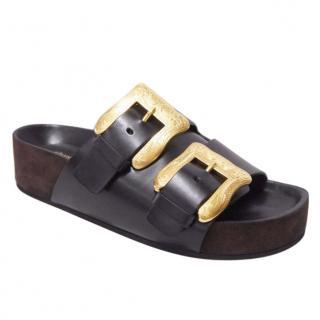 Celine Boxy Leather Buckle Slides