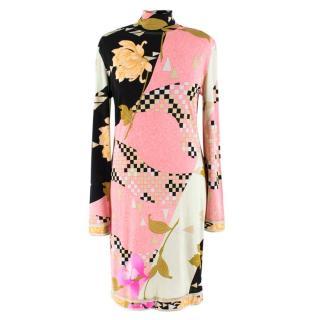 Leonard vintage abstract floral-print silk-jersey dress