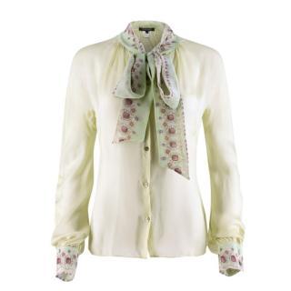 Roberto Cavalli pale green sheer silk shirt