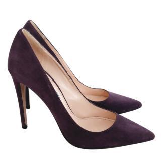 Prada Royal Purple Suede Classic Pointed Toe Pumps
