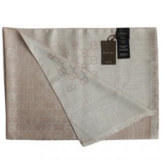 Gucci Beige Guccissima Knit Wool & Silk Scarf
