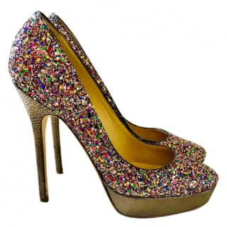 Jimmy Choo Cosmic Glitter Platform Pumps