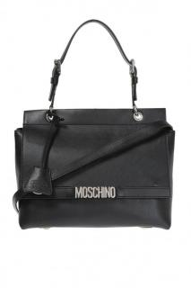 Moschino Metal Logo Leather Shoulder Bag