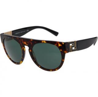 Versace Brown and Black Tortoiseshell Oversized Sunglasses