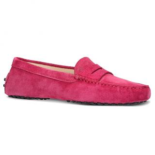 Tod's Suede Pink Moccasins
