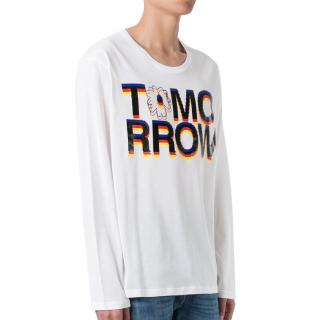 Stella McCartney White Tomorrow Print Long T-Shirt