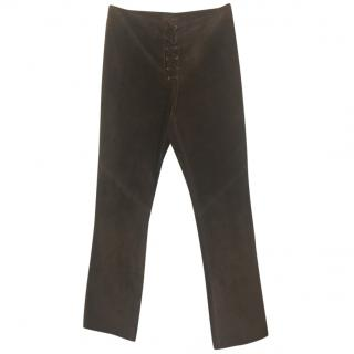 Ralph Lauren Lace-Up Suede Trousers