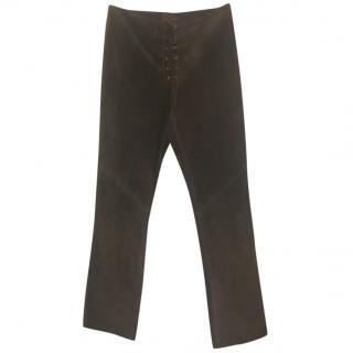 Ralph Lauren Lace-Up Suede Trousers