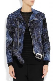 Junya Watanabe Crushed-Velvet Biker Jacket