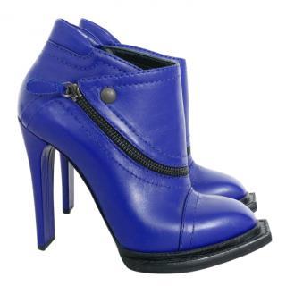 McQ Alexander McQueen Electric-Blue Heeled Biker Boots