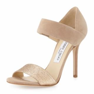 Jimmy Choo Nude Suede and Fine Glitter Evening Sandals
