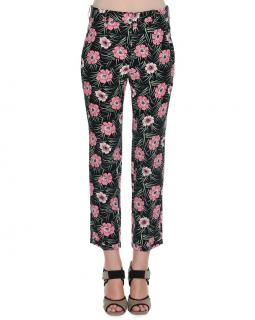 MARNI floral-print cropped crepe trousers