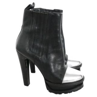 Etro Black & Silver Capped Platform Ankle Boots