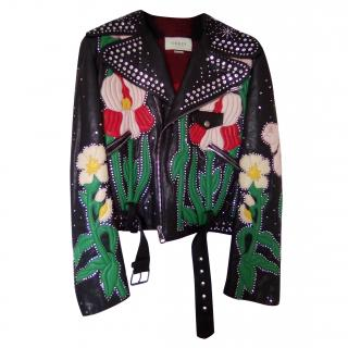bc7908bc1 Gucci Flowers Intarsia leather jacket