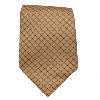 Gieves & Hawkes geometric-print cream silk tie