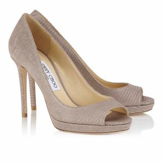 Jimmy Choo luna 100 nude glitter peep toe pumps