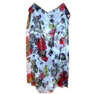 Dolce & Gabbana Red Rose Print Silk Scarf