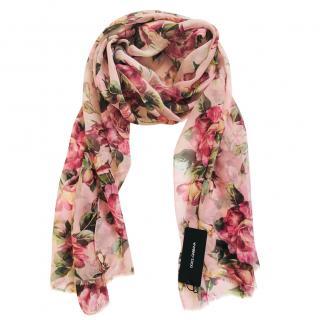 Dolce & Gabbana silk rose print scarf