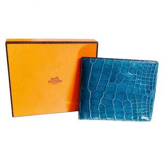 Hermes Glossy Blue Alligator Wallet