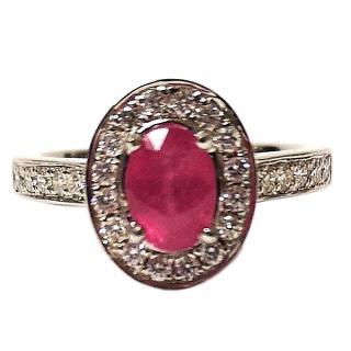 Bespoke Ruby & Diamond Cluster Ring 18ct Gold