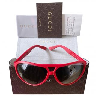 Gucci Red Aviator Sunglasses