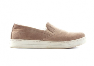 Prada Shearling-Lined Suede Slip-On Sneakers