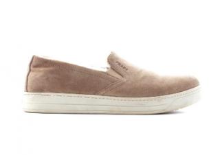 Prada Shearling-Lined Suede Slip-On Sneakers