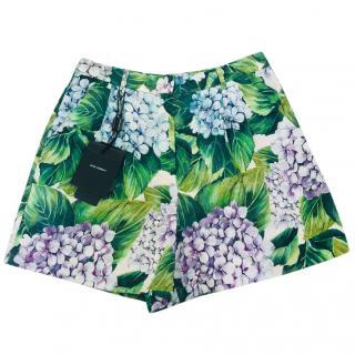 Dolce & Gabbana Hydrangea-brocade cotton & silk-blend shorts