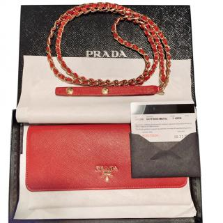 Prada Saffiano chain wallet bag