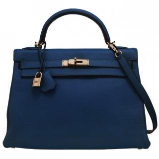 baf8a109314785 Hermes Mykonos Blue 32cm Kelly Bag