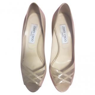 Jimmy Choo patent leather beige mid-heel pumps
