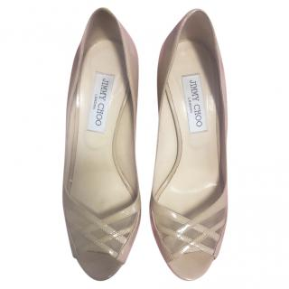 Jimmy Choo patent leather beige mid-heel pumps