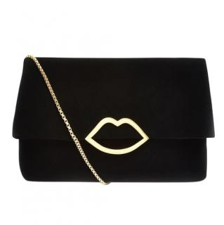 Lulu Guinness Black Velvet Half Covered Issy Clutch