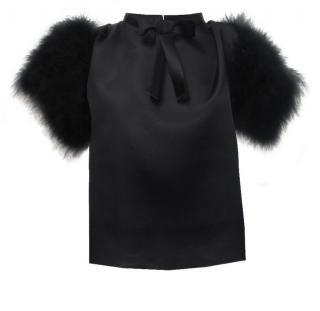 Maguy de Chadirac Black Marabou feathers Blouse